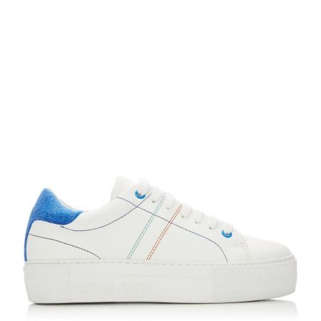Casual Shoes And Trainers   Moda in Pelle Womens Manchester White Blue Leather White