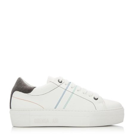 Casual Shoes And Trainers | Moda in Pelle Womens Manchester White – Grey Leather White