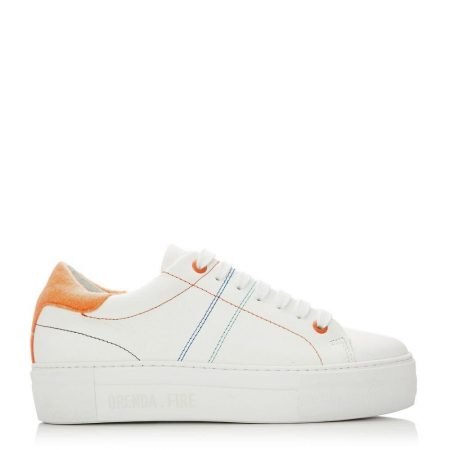 Casual Shoes And Trainers   Moda in Pelle Womens Manchester White Orange Leather White
