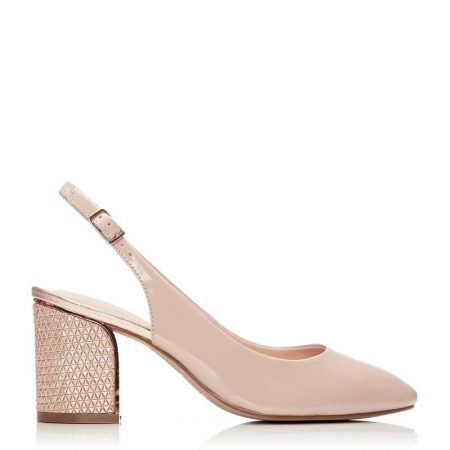 Court Shoes | Moda in Pelle Womens Chinelle Nude Patent Leather Nude