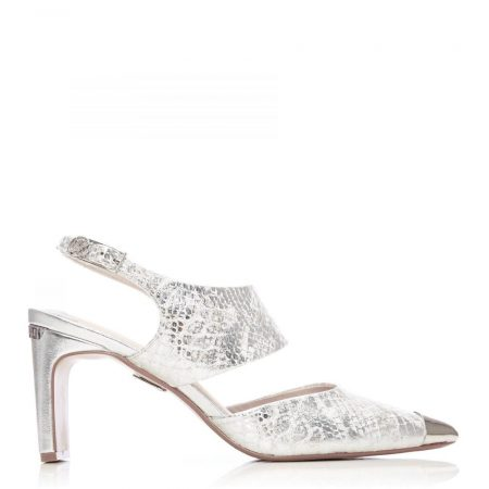 Court Shoes | Moda in Pelle Womens Distie Silver Snake Print Silver