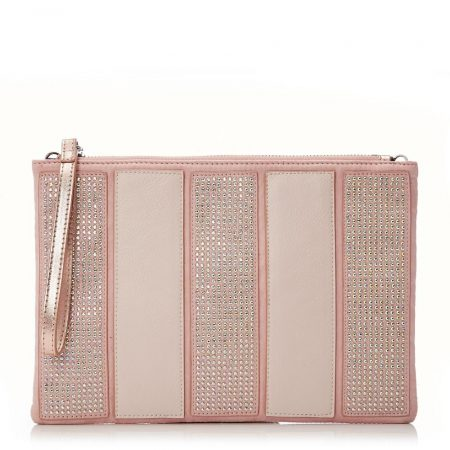 Evening And Clutch Bags | Moda in Pelle Womens Corellaclutch Rose Gold Metallic Rose