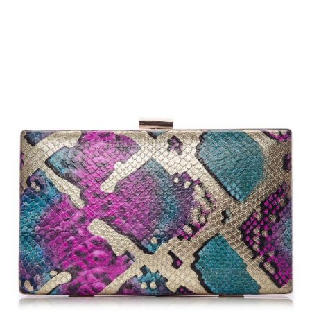Evening And Clutch Bags | Moda in Pelle Womens Jazzclutch Pink – Gold Snake Print Pink