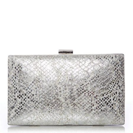 Evening And Clutch Bags | Moda in Pelle Womens Jazzclutch Silver Snake Print Silver
