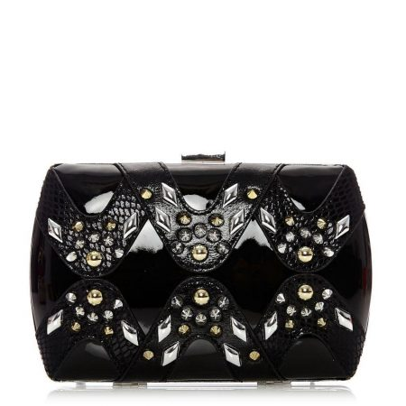 Evening And Clutch Bags | Moda in Pelle Womens Lioraclutch Black Porvair Black