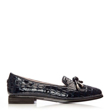Flat And Ballerina Shoes | Moda in Pelle Womens Ebrielle Navy Patent Mocc Croc Navy