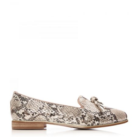 Flat And Ballerina Shoes | Moda in Pelle Womens Ebrielle Nude Silver Metallic Snake Print Nude