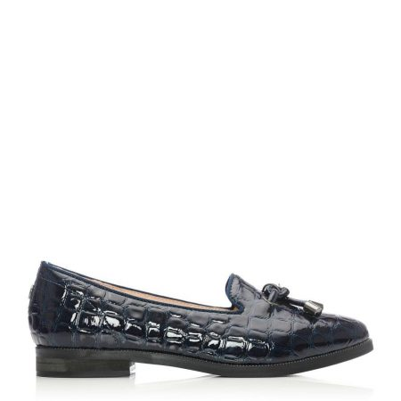Flat And Ballerina Shoes | Moda in Pelle Womens Elissy Navy Mocc Croc Navy