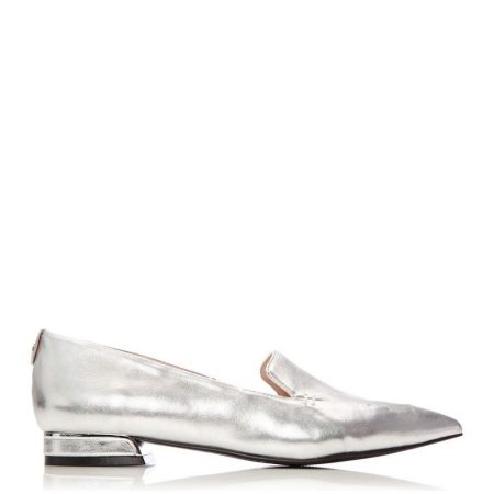 Flat And Ballerina Shoes | Moda in Pelle Womens Elli Silver Porvair Silver