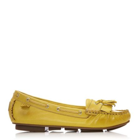 Flat And Ballerina Shoes | Moda in Pelle Womens Errin Yellow Leather Yellow