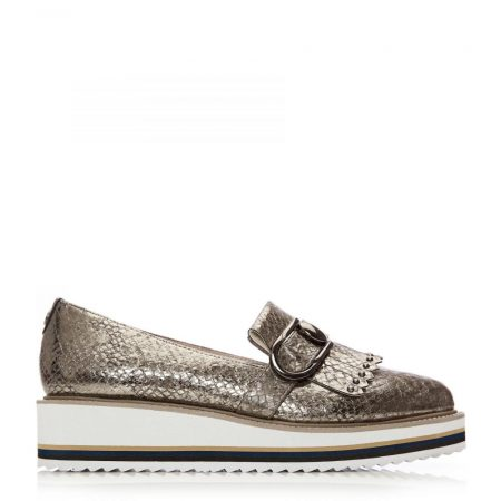 Flat And Ballerina Shoes | Moda in Pelle Womens Esparkle Pewter Snake Print Pewter