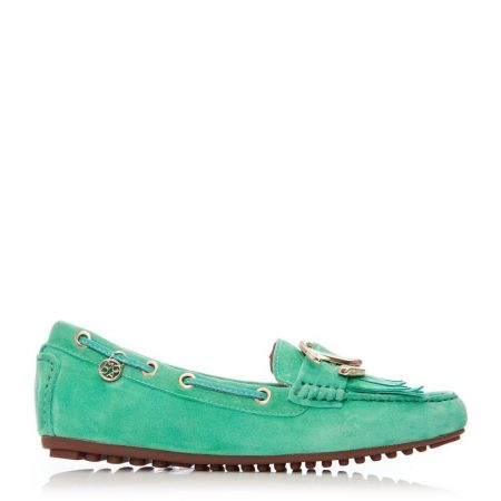 Flat And Ballerina Shoes   Moda in Pelle Womens Etissina Green Suede Green