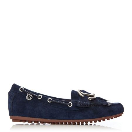 Flat And Ballerina Shoes | Moda in Pelle Womens Etissina Navy Suede Navy