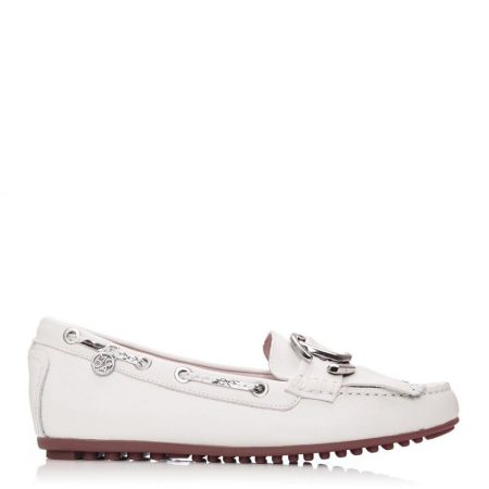 Flat And Ballerina Shoes | Moda in Pelle Womens Etissina Off White Leather Off
