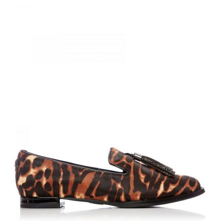 Flat And Ballerina Shoes | Moda in Pelle Womens Evangeline Tiger Textured Animal Print Tiger