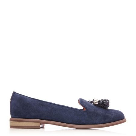 Flat And Ballerina Shoes | Moda in Pelle Womens Exie Navy Suede Navy