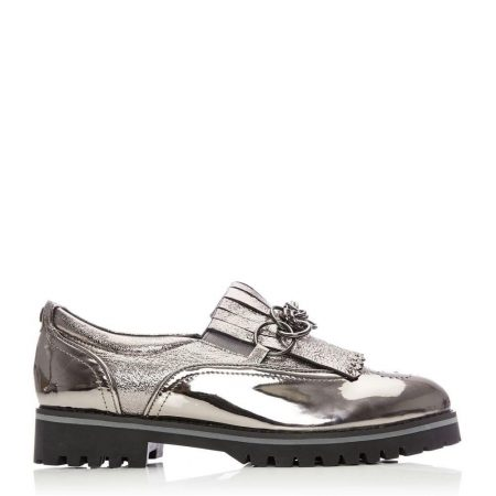 Flat And Ballerina Shoes | Moda in Pelle Womens Ferelia Pewter Metallic Leather Pewter