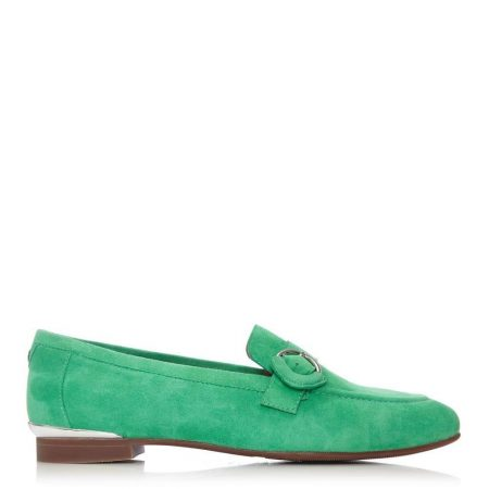Flat And Ballerina Shoes | Moda in Pelle Womens Fina Green Suede Green