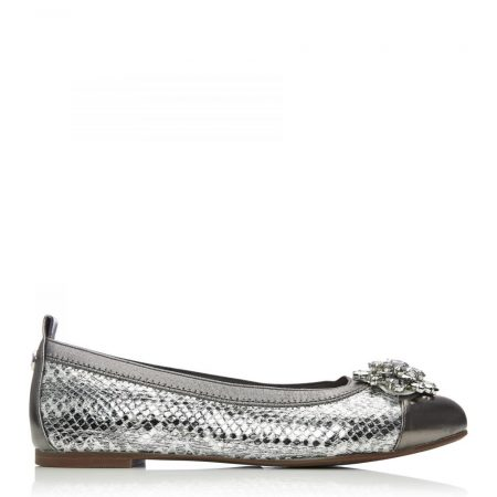 Flat And Ballerina Shoes | Moda in Pelle Womens Fizzi Pewter – Snake Leather Pewter