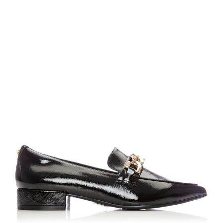 Flat And Ballerina Shoes | Moda in Pelle Womens Fliss Black Patent Leather Black