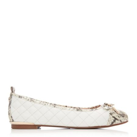 Flat And Ballerina Shoes | Moda in Pelle Womens Follo Off White Leather Off