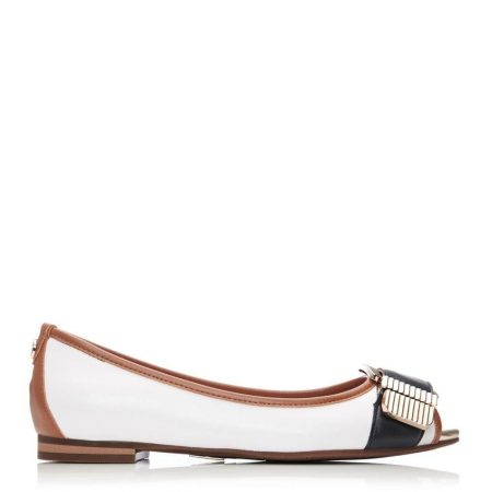 Flat And Ballerina Shoes | Moda in Pelle Womens Freyla Navy-Tan Leather Navy-Tan