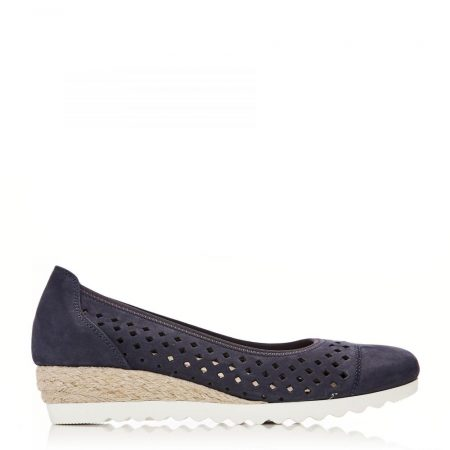 Flat And Ballerina Shoes | Moda in Pelle Womens G Evelyn Navy Nubuck Evelyn