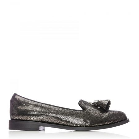 Flat And Ballerina Shoes | Moda in Pelle Womens Welonia Pewter Metallic Leather Pewter