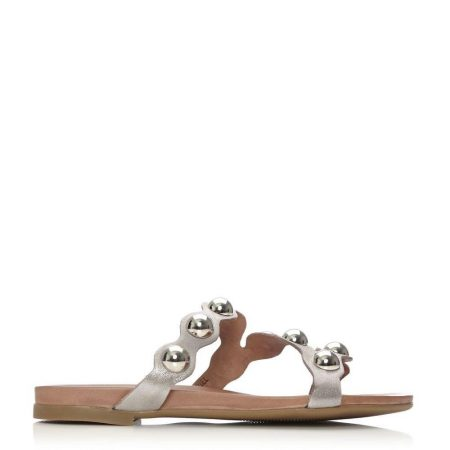 Flat Sandals   Moda in Pelle Womens Oriel Taupe Metallic Leather Taupe