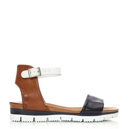 Flat Sandals | Moda in Pelle Womens Painting Navy Leather Navy