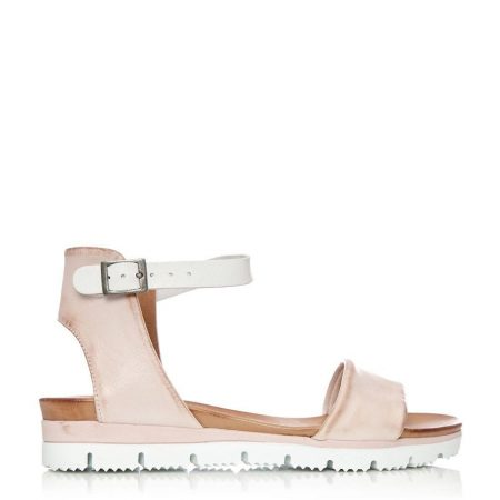 Flat Sandals | Moda in Pelle Womens Painting Nude Leather Nude