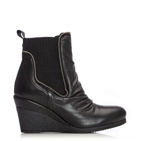 Heeled And Wedge Boots | Moda in Pelle Womens Annamay Black Leather Black