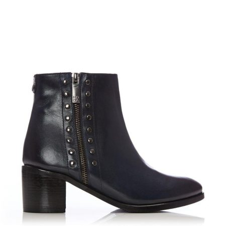 Heeled And Wedge Boots | Moda in Pelle Womens Beula Navy Leather Navy