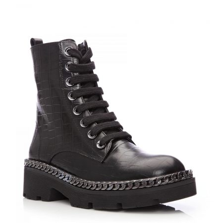 Heeled And Wedge Boots | Moda in Pelle Womens Bizette Black Croc Black