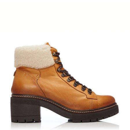 Heeled And Wedge Boots | Moda in Pelle Womens Carlota Mustard Leather Mustard