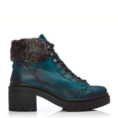 Heeled And Wedge Boots | Moda in Pelle Womens Carlota Teal Leather Teal
