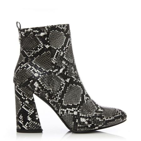 Heeled And Wedge Boots | Moda in Pelle Womens Delfie Monochrome Snake Print Monochrome