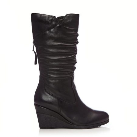 Heeled And Wedge Boots | Moda in Pelle Womens Lamello Black Leather Black