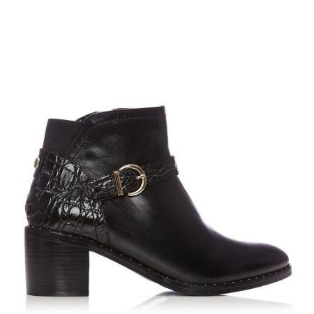 Heeled And Wedge Boots | Moda in Pelle Womens Leelo Black Leather Black