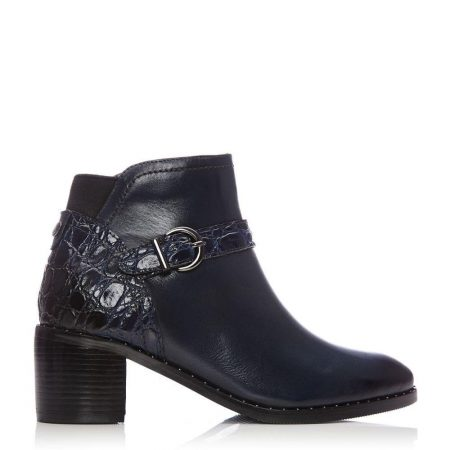 Heeled And Wedge Boots | Moda in Pelle Womens Leelo Navy Leather Navy