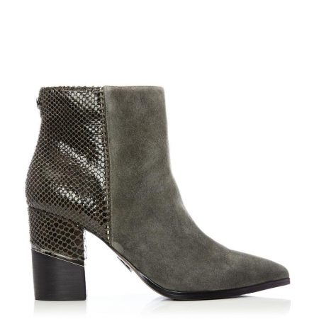 Heeled And Wedge Boots | Moda in Pelle Womens Linirre Grey Suede Grey