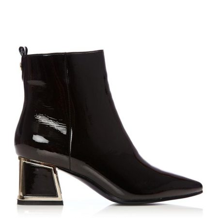 Heeled And Wedge Boots | Moda in Pelle Womens Littala Black Patent Black