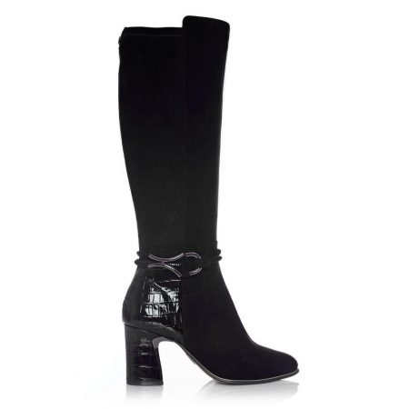 Heeled And Wedge Boots   Moda in Pelle Womens Lizereti Black Suede Black