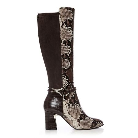 Heeled And Wedge Boots | Moda in Pelle Womens Lizereti Brown Snake Print Brown
