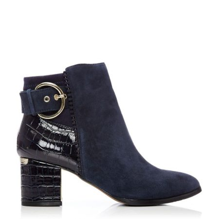 Heeled And Wedge Boots | Moda in Pelle Womens Marlee Navy Suede Navy
