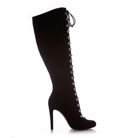 Heeled And Wedge Boots | Moda in Pelle Womens Sariah Black Suede Black