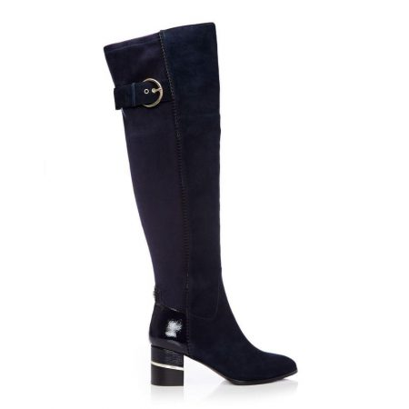 Heeled And Wedge Boots | Moda in Pelle Womens Violette Navy Suede Navy