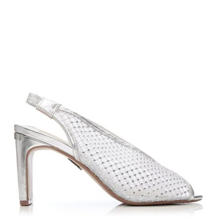 Heeled Sandals | Moda in Pelle Womens Cristelle Silver Textile Silver