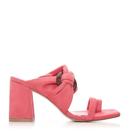 Heeled Sandals   Moda in Pelle Womens Lusey Coral Alcantara Coral