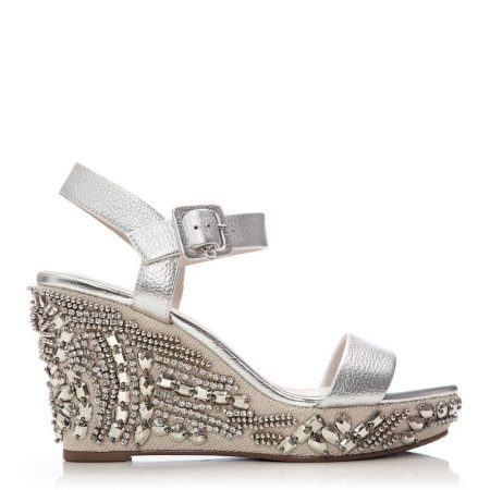 Heeled Sandals | Moda in Pelle Womens Mojitto Silver Leather Silver